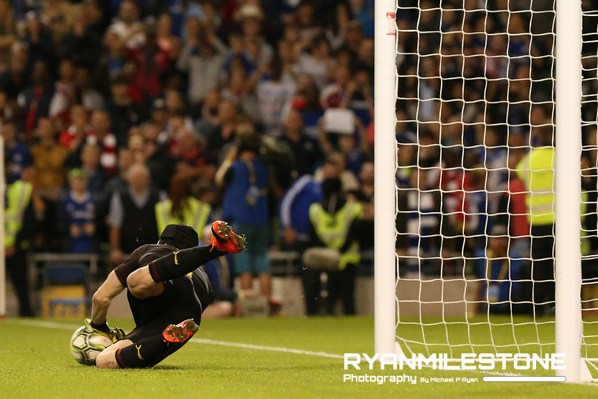 Petr Cech of Arsenal makes a save in the penalty shootout during the International Champions Cup Game between Arsenal and Chelsea at the Aviva Stadium, Dublin. Photo By Michael P Ryan.