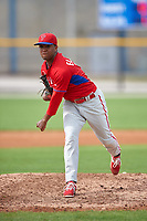 Philadelphia Phillies Elniery Garcia (70) during a minor league Spring Training game against the Toronto Blue Jays on March 26, 2016 at Englebert Complex in Dunedin, Florida.  (Mike Janes/Four Seam Images)