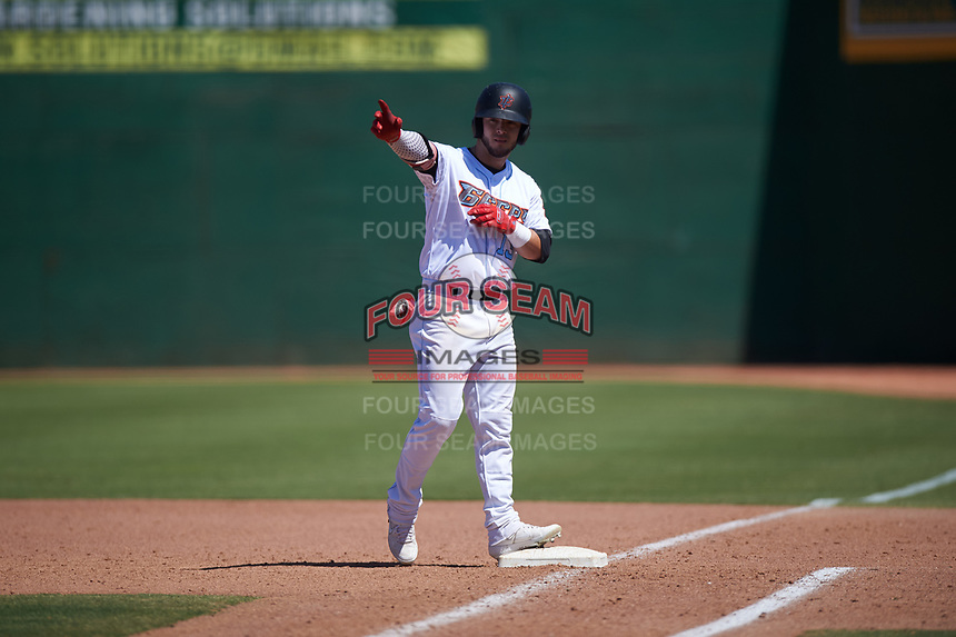 Inland Empire 66ers center fielder Orlando Martinez (13) celebrates after a game-tying RBI-single during a California League game against the Modesto Nuts on April 10, 2019 at San Manuel Stadium in San Bernardino, California. Inland Empire defeated Modesto 5-4 in 13 innings. (Zachary Lucy/Four Seam Images)
