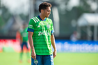 LAKE BUENA VISTA, FL - JULY 14: Shandon Hopeau #37 of the Seattle Sounders waiting on the ball during a game between Seattle Sounders FC and Chicago Fire at Wide World of Sports on July 14, 2020 in Lake Buena Vista, Florida.
