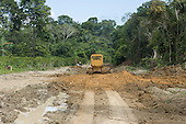 Para State, Brazil. Bulldozer clearing a new dirt road in the Amazon near the Tapajos River.
