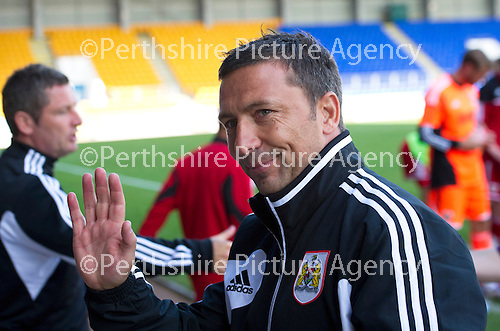 St Johnstone v Bristol City....28.07.12  Pre-Season Friendly.Derek McInnes waves to the sinats fans at full time.Picture by Graeme Hart..Copyright Perthshire Picture Agency.Tel: 01738 623350  Mobile: 07990 594431