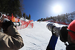 FIS Alpine World Ski Championships 2021 Val Di Fassa. Moena, Passo di Fassa, Italy on February 26, 2021. Ladies Downhill Event,  Nadine Fest in action with photographers