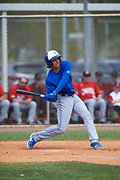 Toronto Blue Jays Javier D'Orazio (28) bats during an exhibition game against the Canada Junior National Team on March 8, 2020 at Baseball City in St. Petersburg, Florida.  (Mike Janes/Four Seam Images)