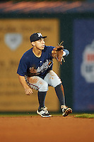 Mississippi Braves shortstop Daniel Castro (20) waits for a throw during a game against the Mobile BayBears on April 28, 2015 at Hank Aaron Stadium in Mobile, Alabama.  The game was suspended after the top of the second inning with Mobile leading 3-0, the BayBears went on to defeat the Braves 6-1 the following day.  (Mike Janes/Four Seam Images)