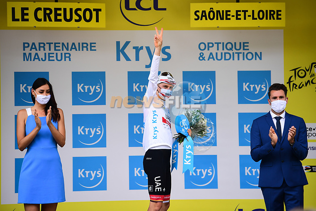 Tadej Pogacar (SLO) UAE Team Emirates retains the young riders White Jersey at the end of Stage 7 of the 2021 Tour de France, running 249.1km from Vierzon to Le Creusot, France. 2nd July 2021.  <br /> Picture: A.S.O./Pauline Ballet   Cyclefile<br /> <br /> All photos usage must carry mandatory copyright credit (© Cyclefile   A.S.O./Pauline Ballet)