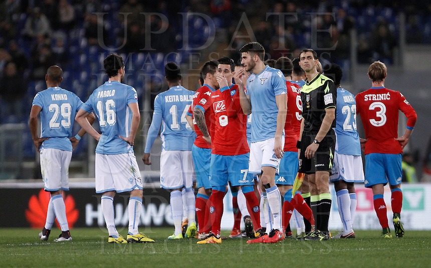 Calcio, Serie A: Lazio vs Napoli. Roma, stadio Olimpico, 3 febbraio 2016.<br /> Lazio and Napoli players argue after that their Italian Serie A football match was suspended due to racist chanting by home fans, at Rome's Olympic stadium, 3 February 2016.<br /> UPDATE IMAGES PRESS/Isabella Bonotto