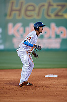 Jackson Generals right fielder Victor Reyes (5) leads off second base during a game against the Chattanooga Lookouts on April 27, 2017 at The Ballpark at Jackson in Jackson, Tennessee.  Chattanooga defeated Jackson 5-4.  (Mike Janes/Four Seam Images)
