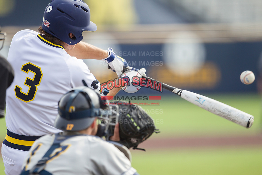 Michigan Wolverines outfielder Cody Bruder (3) swings the bat against the Toledo Rockets on April 20, 2016 at Ray Fisher Stadium in Ann Arbor, Michigan. Michigan defeated Bowling Green 2-1. (Andrew Woolley/Four Seam Images)