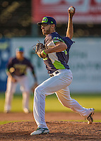 29 June 2014:  Vermont Lake Monsters pitcher Dominique Vattuone on the mound against the Lowell Spinners at Centennial Field in Burlington, Vermont. The Lake Monsters fell to the Spinners 7-5 in NY Penn League action. Mandatory Credit: Ed Wolfstein Photo *** RAW Image File Available ****