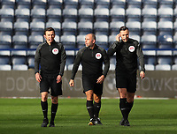 31st October 2020; Deepdale Stadium, Preston, Lancashire, England; English Football League Championship Football, Preston North End versus Birmingham City; match referee Tony Harrington with his assistants Nick Greenhalgh and Nicholas Barnard