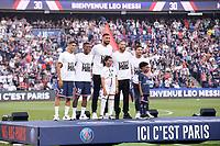 CEREMONIE - HOMMAGE - PRESENTATION DES NOUVELLES RECRUES DU PSG - 30 LIONEL LEO MESSI (PSG) - 04 SERGIO RAMOS (PSG) - 02 ACHRAF HAKIMI (PSG) - 50 GIANLUIGI DONNARUMMA (PSG) - 18 GEORGINIO WIJNALDUM (PSG)<br /> Paris 14/08/2021 <br /> Paris Saint Germain vs Strasbourg <br /> Football Ligue 1 2021/2022<br /> Photo Philippe Lecoeur/Panoramic/insidefoto <br /> ITALY ONLY