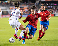 HOUSTON, TX - FEBRUARY 03: Carli Lloyd #10 of the USA evades a challenge by Jazmin Elizondo #19 of Costa Rica during a game between Costa Rica and USWNT at BBVA Stadium on February 03, 2020 in Houston, Texas.