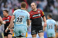 20130512 Copyright onEdition 2013©.Free for editorial use image, please credit: onEdition..Steve Borthwick of Saracens congratulates GJ van Velze of Northampton Saints the Premiership Rugby semi final match between Saracens and Northampton Saints at Allianz Park on Sunday 12th May 2013 (Photo by Rob Munro)..For press contacts contact: Sam Feasey at brandRapport on M: +44 (0)7717 757114 E: SFeasey@brand-rapport.com..If you require a higher resolution image or you have any other onEdition photographic enquiries, please contact onEdition on 0845 900 2 900 or email info@onEdition.com.This image is copyright onEdition 2013©..This image has been supplied by onEdition and must be credited onEdition. The author is asserting his full Moral rights in relation to the publication of this image. Rights for onward transmission of any image or file is not granted or implied. Changing or deleting Copyright information is illegal as specified in the Copyright, Design and Patents Act 1988. If you are in any way unsure of your right to publish this image please contact onEdition on 0845 900 2 900 or email info@onEdition.com