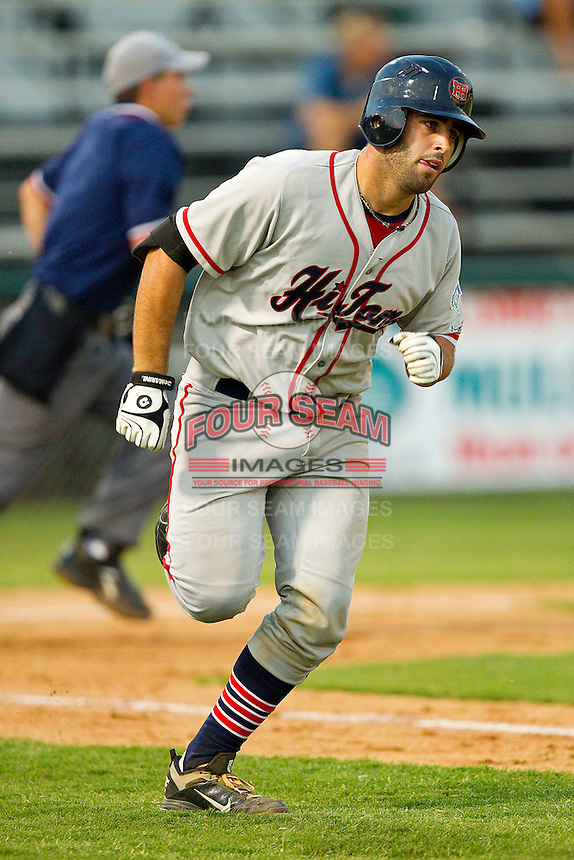 Ryan Kinsella #32 of the Thomasville HiToms hustles down the first base line against the Gastonia Grizzlies at Sims Legion Park on June 2, 2011 in Gastonia, North Carolina.  The Hi-Toms defeated the Grizzlies 9-4.  Photo by Brian Westerholt / Four Seam Images