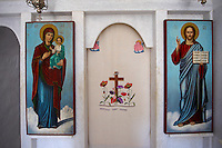 Interior of Greek Orthodox Chapel with Icons of the Madonna, Virgin Mary ( Hodegetaria Style) and Jesus Christ - Naxos Cyclades Islands, Greece