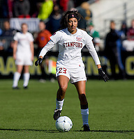Christen Press (23) of Stanford looks for a teammate during the final of the NCAA Women's College Cup at WakeMed Soccer Park in Cary, NC.  Notre Dame defeated Stanford, 1-0.