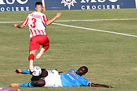 Kalidou Koulibaly of SSC Napoli and Alberto Tentardini SS Teramo compete for the ball<br /> during the friendly football match between SSC Napoli and SS Teramo Calcio 1913 at stadio Patini in Castel di Sangro, Italy, September 04, 2020. <br /> Photo Cesare Purini / Insidefoto