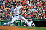10 June 2012: Boston Red Sox pitcher Alfredo Aceves on the mound against the Washington Nationals at Fenway Park in Boston, MA. The Nationals defeated the Red Sox 4-3 to sweep their 3-game interleague series. Mandatory Credit: Ed Wolfstein Photo