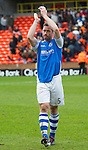 Dundee United v St Johnstone.....04.05.13      SPL.Frazer Wright applauds the fans at full time.Picture by Graeme Hart..Copyright Perthshire Picture Agency.Tel: 01738 623350  Mobile: 07990 594431