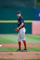 Lowell Spinners starting pitcher Thad Ward (41) gets ready to deliver a pitch during a game against the Connecticut Tigers on August 26, 2018 at Dodd Stadium in Norwich, Connecticut.  Connecticut defeated Lowell 11-3.  (Mike Janes/Four Seam Images)
