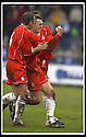 01/03/2003                   Copyright Pic : James Stewart.File Name : stewart-qots v falkirk 07.LEE MILLER IS CONGRATULATED BY DAVIE NICHOLL AFTER SCORING FALKIRK'S GOAL....James Stewart Photo Agency, 19 Carronlea Drive, Falkirk. FK2 8DN      Vat Reg No. 607 6932 25.Office     : +44 (0)1324 570906     .Mobile  : +44 (0)7721 416997.Fax         :  +44 (0)1324 570906.E-mail  :  jim@jspa.co.uk.If you require further information then contact Jim Stewart on any of the numbers above.........