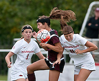 NWA Democrat-Gazette/BEN GOFF @NWABENGOFF<br /> Rachel VanFossen (left) and Alexandra Fischer of Arkansas go for the ball against Katelyn Watson of Mississippi State on Sunday Sept. 20, 2015 during the match at Razorback Field in Fayetteville.