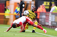 Danny rose of Watford and Luther Wildin of Stevenage FC during Stevenage vs Watford, Friendly Match Football at the Lamex Stadium on 27th July 2021
