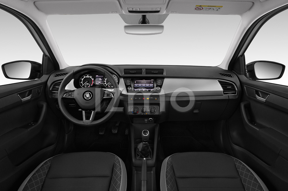 Stock photo of straight dashboard view of a 2019 Skoda Fabia Ambition 5 Door Hatchback