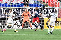 FOXBOROUGH, UNITED STATES - AUGUST 20: Andrew Farrell #2 of New England Revolution stops the ball near the New England goal during a game between Philadelphia Union and New England Revolution at Gilette on August 20, 2020 in Foxborough, Massachusetts.