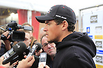Greg Van Avermaet (BEL) BMC Racing Team at the Team Presentations in Compiegne before the 2015 Paris-Roubaix cycle race held over the cobbled roads of Northern France. 11th April 2015.<br /> Photo: Eoin Clarke www.newsfile.ie
