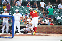 Jordon Adell (45) of Ballard High School in Prospect, Kentucky during the home run derby before the Under Armour All-American Game presented by Baseball Factory on July 23, 2016 at Wrigley Field in Chicago, Illinois.  (Mike Janes/Four Seam Images)