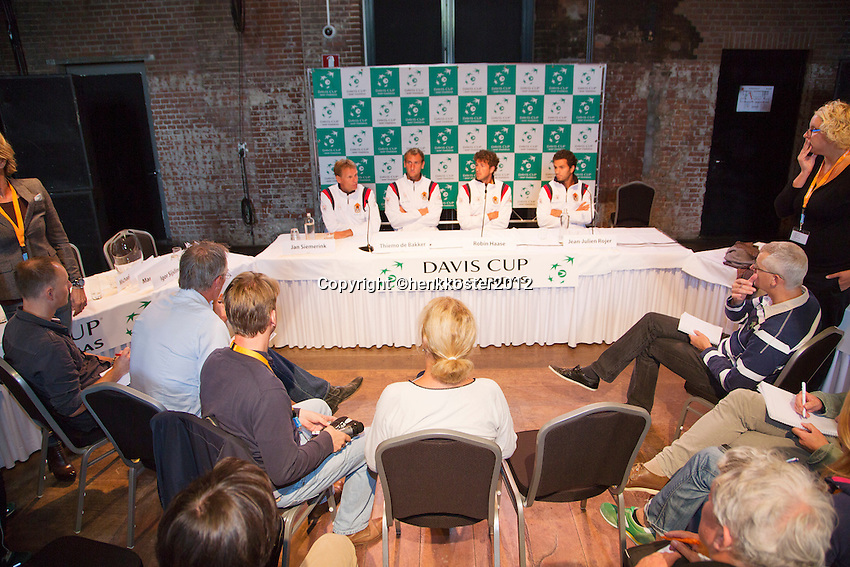 13-09-12, Netherlands, Amsterdam, Tennis, Daviscup Netherlands-Swiss, Draw   Dutch team press-conference