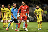 8th February 2021; Jubilee Stadium, Sydney, New South Wales, Australia; A League Football, Sydney Football Club versus Wellington Phoenix; Stefan Marinovic of Wellington Phoenix gets physical with Rhyan Grant of Sydney at a corner in the closing minutes