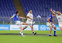 31st October 2020, Olimpico Stadium, Rome, Italy; Six Nations International Rugby Union, Italy versus England; Carlo Canna (Ita) box kicks past the attempted block during