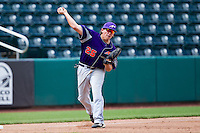 Jake Mahon (25) of the Evansville Purple Aces throws to first base during a game against the Missouri State Bears at Hammons Field on May 12, 2012 in Springfield, Missouri. (David Welker/Four Seam Images)