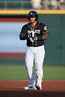 Yermin Mercedes (24) of the Charlotte Knights stands on second base during the game against the Gwinnett Stripers at Truist Field on July 15, 2021 in Charlotte, North Carolina. (Brian Westerholt/Four Seam Images)