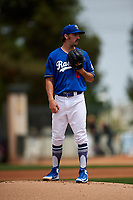 Rancho Cucamonga Quakes starting pitcher Tony Gonsolin (16) looks to his catcher for the sign during a California League game against the Lake Elsinore Storm at LoanMart Field on May 20, 2018 in Rancho Cucamonga, California. Rancho Cucamonga defeated Lake Elsinore 6-2. (Zachary Lucy/Four Seam Images)