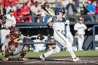 Michigan Wolverines outfielder Miles Lewis (3) follows through on his swing against the Central Michigan Chippewas on May 9, 2017 at Ray Fisher Stadium in Ann Arbor, Michigan. Michigan defeated Central Michigan 4-2. (Andrew Woolley/Four Seam Images)