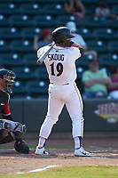 Evan Skoug (19) of the Winston-Salem Dash at bat against the Carolina Mudcats at BB&T Ballpark on June 1, 2019 in Winston-Salem, North Carolina. The Mudcats defeated the Dash 6-3 in game one of a double header. (Brian Westerholt/Four Seam Images)