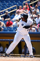 Lake County Captains outfielder Carlos Moncrief #24 at bat during the first game of a double header against the West Michigan Whitecaps at Classic Park on May 30, 2011 in Eastlake, Ohio.  West Michigan defeated Lake County 5-0.  Photo By Mike Janes/Four Seam Images