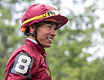 July 17, 2021: Jose L. Ortiz in the paddock with Wesley A Ward before the start of the first race on Diana Day at Saratoga Race Course in Saratoga Springs, New York on July 17,2021. Rob Simmons/Eclipse Sportswire/CSM