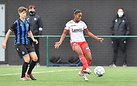 Essevee's Esther Buabadi pictured with Brugge's Isabelle Iliano during a female soccer game between Club Brugge Dames YLA and Zulte Waregem Ladies on the third matchday of the 2020 - 2021 season of Belgian Scooore Womens Super League , saturday 3 October 2020  in Brugge , Belgium . PHOTO SPORTPIX.BE | SPP | DAVID CATRY