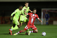 Jack Powell of Crawley Town and Hector Kyprianou of Leyton Orient during Crawley Town vs Leyton Orient, Papa John's Trophy Football at The People's Pension Stadium on 5th October 2021