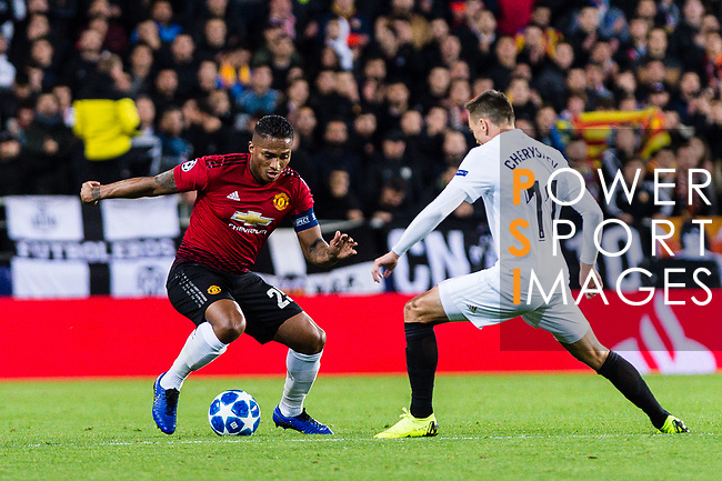 Antonio Valencia of Manchester United (L) dribbles Denis Cheryshev of Valencia CF (R) during the UEFA Champions League 2018-19 match between Valencia CF and Manchester United at Estadio de Mestalla on December 12 2018 in Valencia, Spain. Photo by Maria Jose Segovia Carmona / Power Sport Images