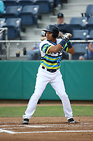 Joseph Rosa (1) of the Everett AquaSox bats against the Boise Hawks at Everett Memorial Stadium on July 21, 2017 in Everett, Washington. Boise defeated Everett, 10-4. (Larry Goren/Four Seam Images)