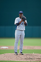 GCL Rays relief pitcher Francisco Sanchez (27) gets ready to deliver a pitch during a game against the GCL Orioles on July 21, 2017 at Ed Smith Stadium in Sarasota, Florida.  GCL Orioles defeated the GCL Rays 9-0.  (Mike Janes/Four Seam Images)