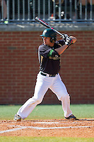 Brad Elwood (2) of the Charlotte 49ers at bat against the Canisius Golden Griffins at Hayes Stadium on February 23, 2014 in Charlotte, North Carolina.  The Golden Griffins defeated the 49ers 10-1.  (Brian Westerholt/Four Seam Images)