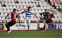 Queens Park Rangers' MacAuley Bonne (centre) under pressure from Bournemouth's Steve Cook (left) and Diego Rico (right) <br /> <br /> Photographer David Horton/CameraSport<br /> <br /> The EFL Sky Bet Championship - Bournemouth v Queens Park Rangers - Saturday 17th October 2020 - Vitality Stadium - Bournemouth<br /> <br /> World Copyright © 2020 CameraSport. All rights reserved. 43 Linden Ave. Countesthorpe. Leicester. England. LE8 5PG - Tel: +44 (0) 116 277 4147 - admin@camerasport.com - www.camerasport.com