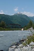 The railroad bridge across the Placer River.